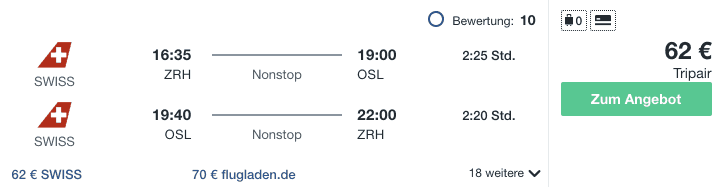 Travel Dealz ZRH OSL Swiss