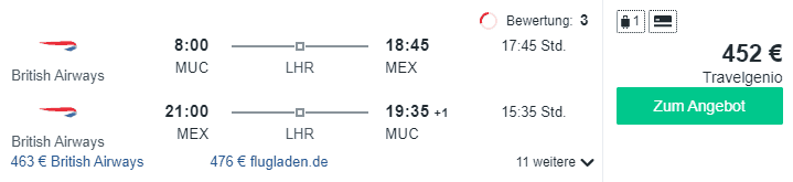 Travel Dealzh MUC MEX British Airways