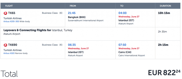 Turkish Airlines CAI-BKK