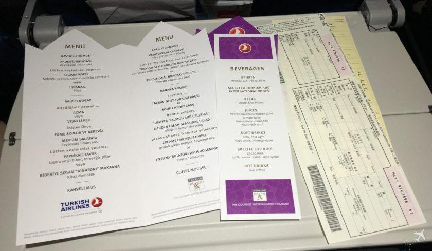 Turkish Airlines Economy Class Menü Langstrecke