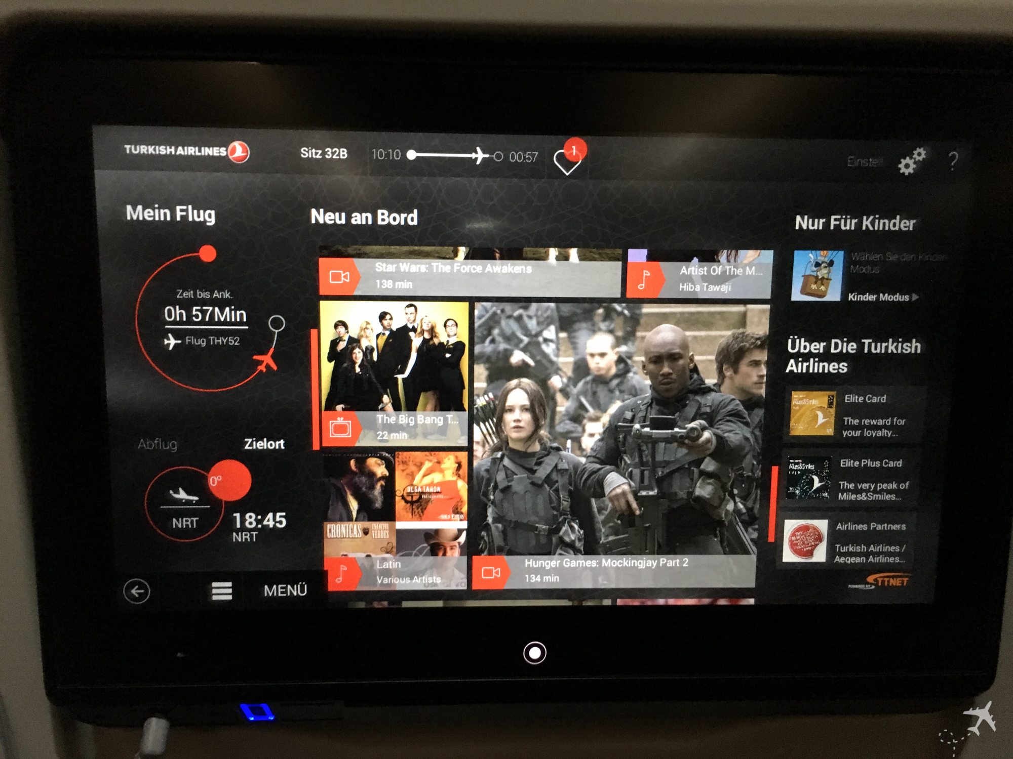 Turkish Airlines Economy Class Inflight Entertainment System