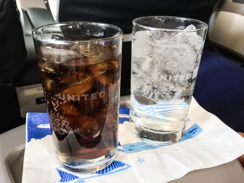 United Airlines Domestic First Class Pre-Departure Drink