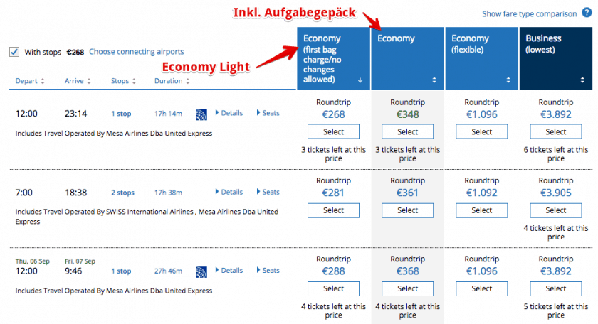 United Airlines Economy Light Tarif