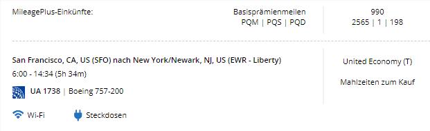 United Meilen SFO-EWR