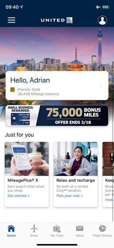 United Polaris Bewertung App Homescreen