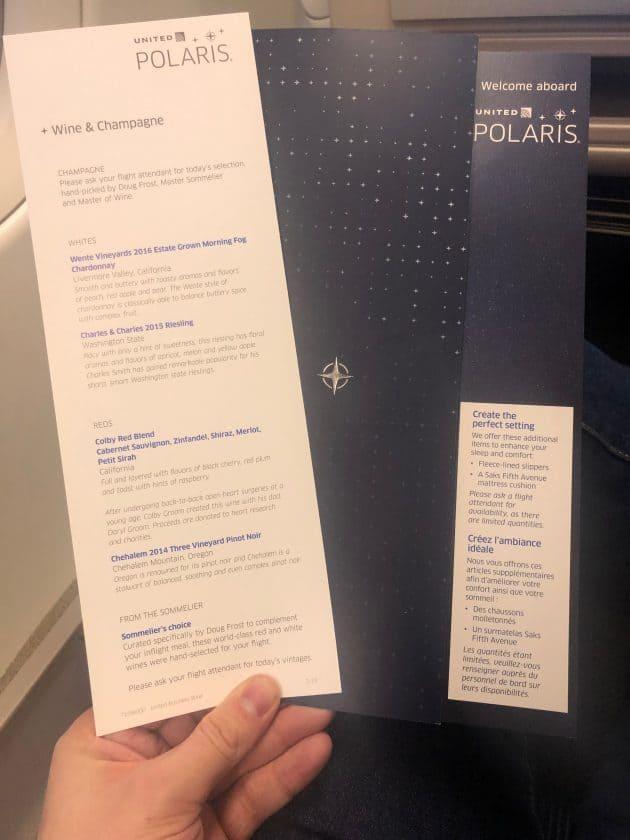 United Polaris Bewertung Weinkarte