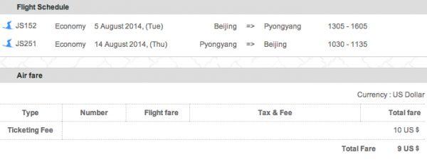 Peking - Pjöngjang für 9$