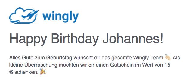 Wingly Geburtstagsgeschenk