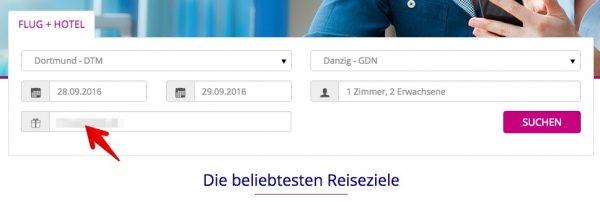 WizzTours Gutscheinfeld
