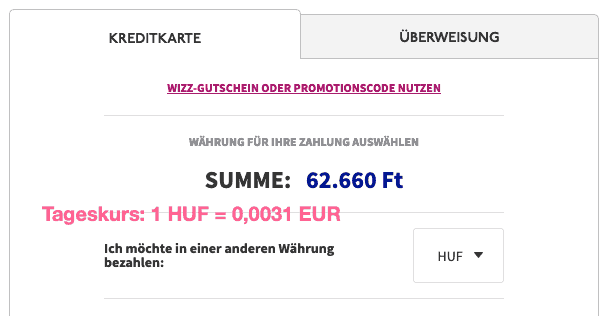 Wizzair HUF