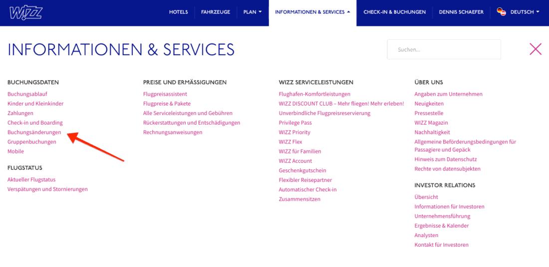 Wizzar Buchungsaenderung Seite Homepage Informationen Services