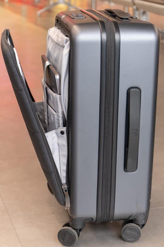 Xiaomi Business Cabin Boarding Suitcase Seite Außentasche offen