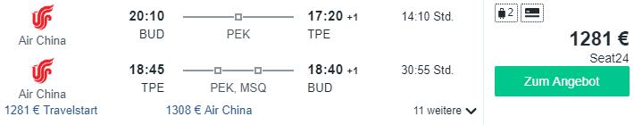 air china business budapest taipeh