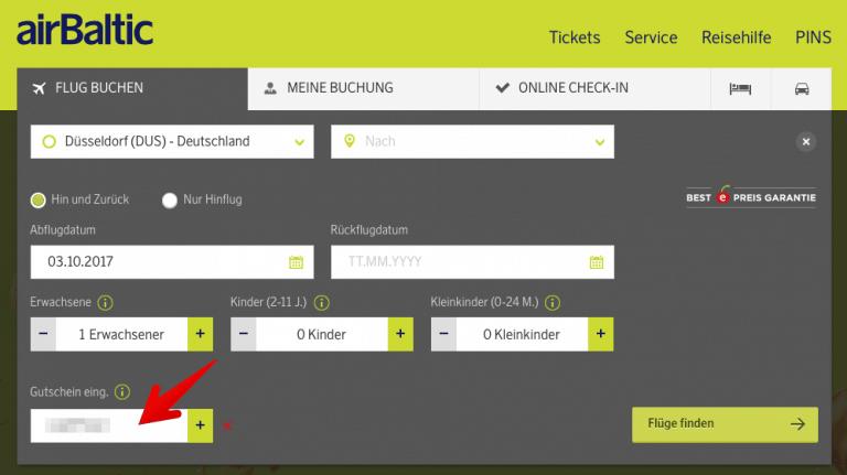 airBaltic Gutscheinfeld