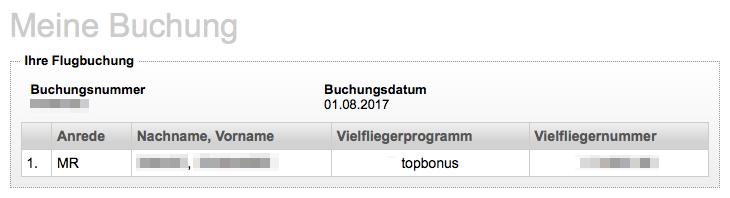 Air Berlin Topbonus Vielfliegernummer ändern