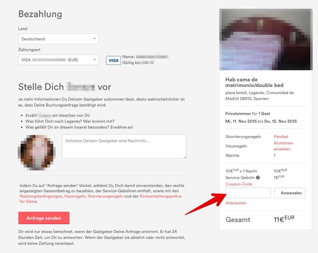 Airbnb Gutscheinfeld