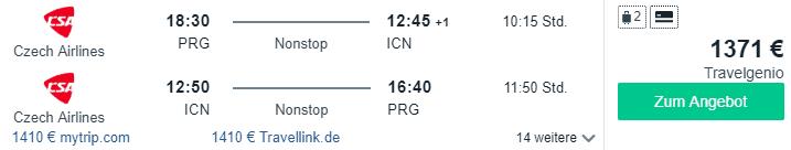 czech airlines nonstop soeul