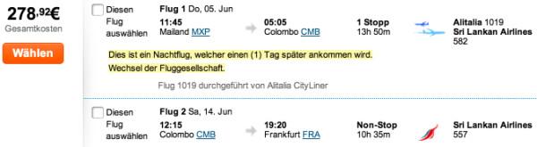 Mailand - Sri Lanka - Frankfurt für 278€