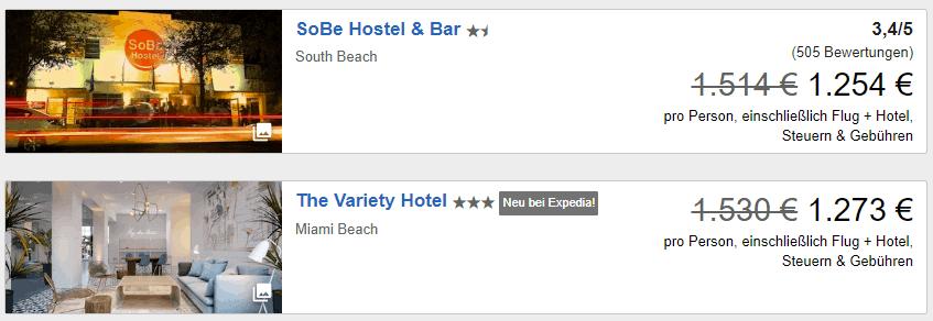 Expedia FRA MIA Flug Hotel waehlen