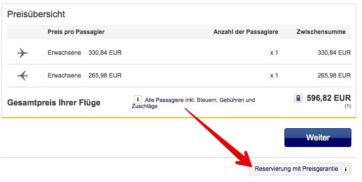 Lufthansa Preisgarantie