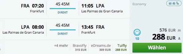Flug Frankfurt-Las Palmas