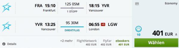 Frankfurt/Main - Vancouver - London für 401€