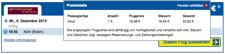 Cheaptickets Gebühren Germanwings-Flug
