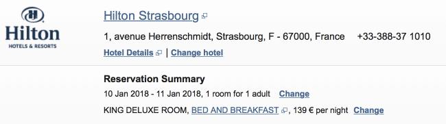 hilton strasbourg reservation screenshot