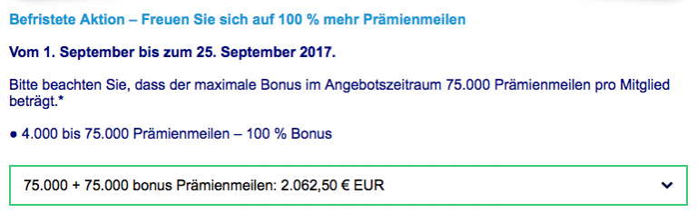 FlyingBlue Meilen kaufen Bonus