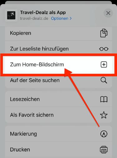 iOS PWA Zum Home Bildschrim