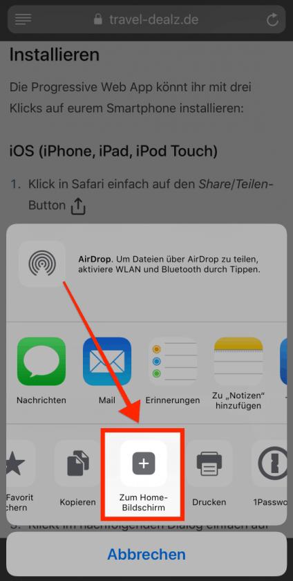 iOS PWA Zum Homebildschirm