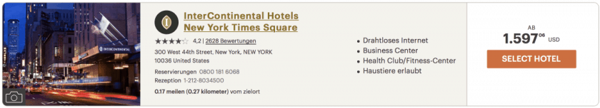 intercontinental Times Square Silvester 2