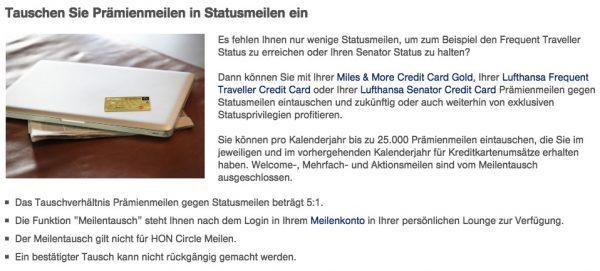 Miles&More Kreditkarte: Tauschen Sie Prämienmeilen in Statusmeilen ein
