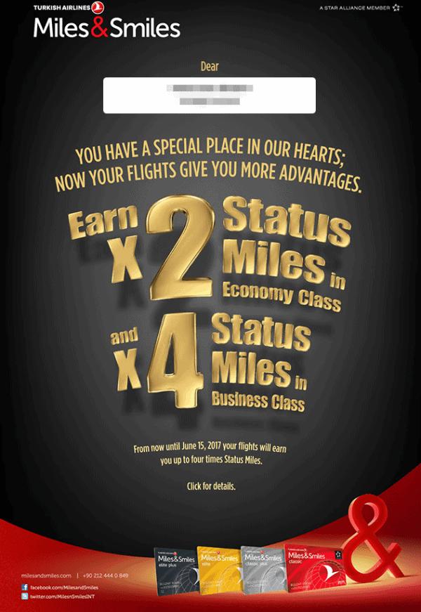 Turkish Airlines Miles&Smiles 2/3-fache Statusmeilen