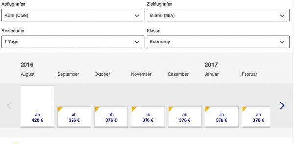Lufthansa Bestpreis CGN-MIA