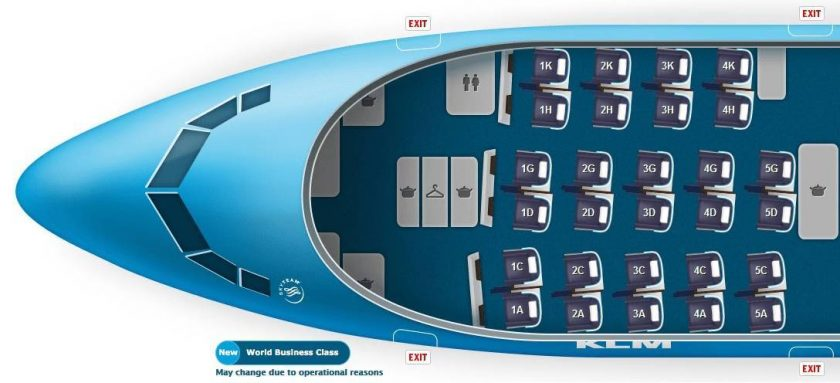 KLM 777-300ER Seatmap Business Class