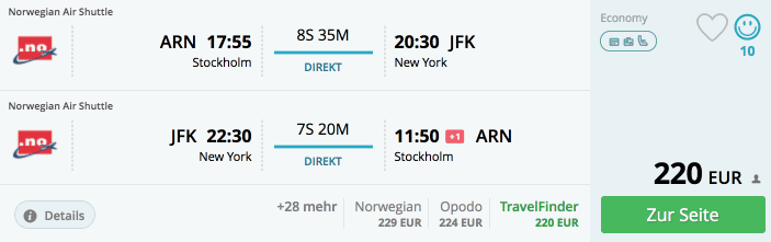 momondo ARN-JFK Norwegian