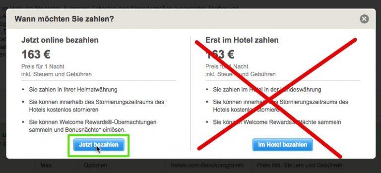 Hotels.com Jetzt online bezahlen