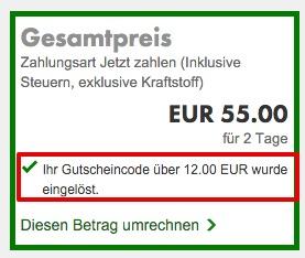 Europcar Gutschein eingelöst