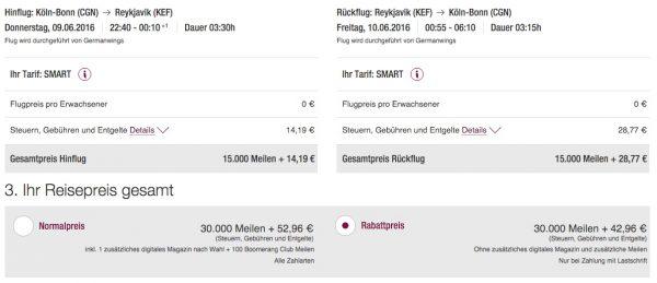 Eurowings Miles&More Köln/Bonn - Island