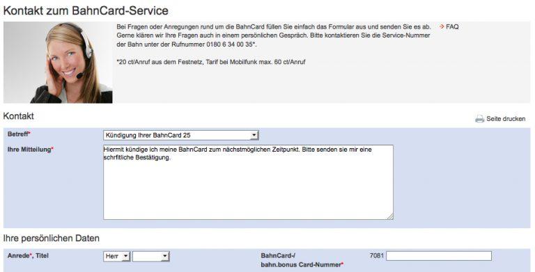BahnCard Kündigung