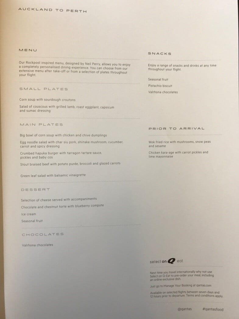 Qantas Airbus A330-200 Business Suite Menü