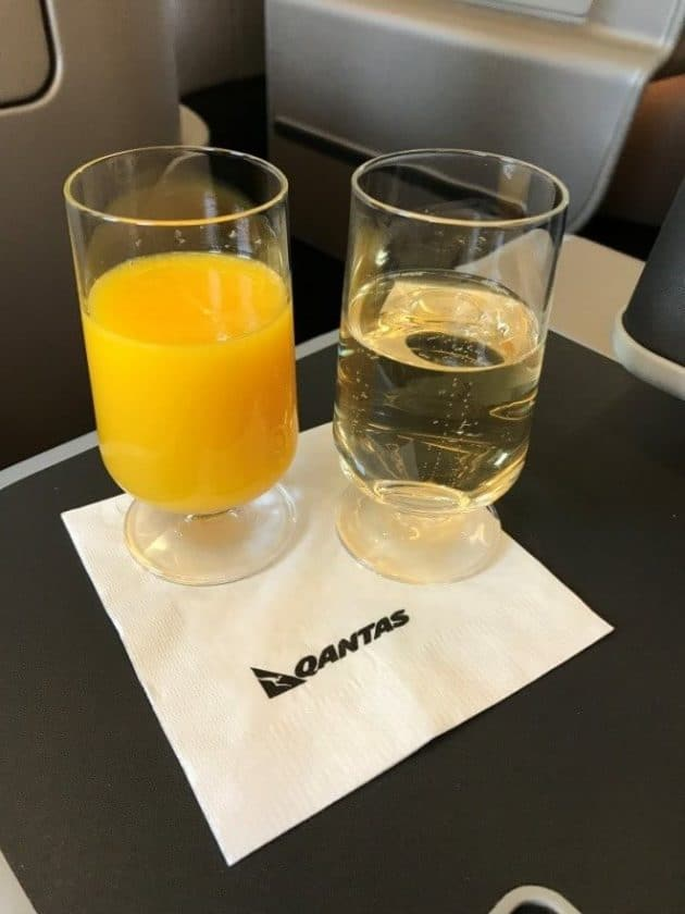 Qantas Airbus A330-200 Business Suite Pre-Departure Drink