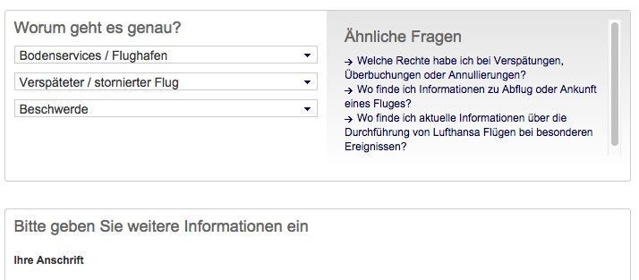 Lufthansa Kontaktformular Verspäteter / stornierter Flug
