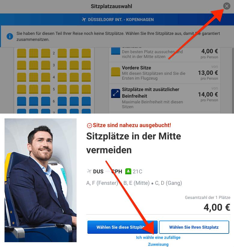 Ryanair Sitzplatzauswahl überspringen