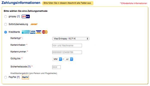 eDreams kostenloses Zahlungsmittel
