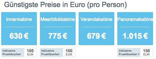 Aida Nordeuropa Preise