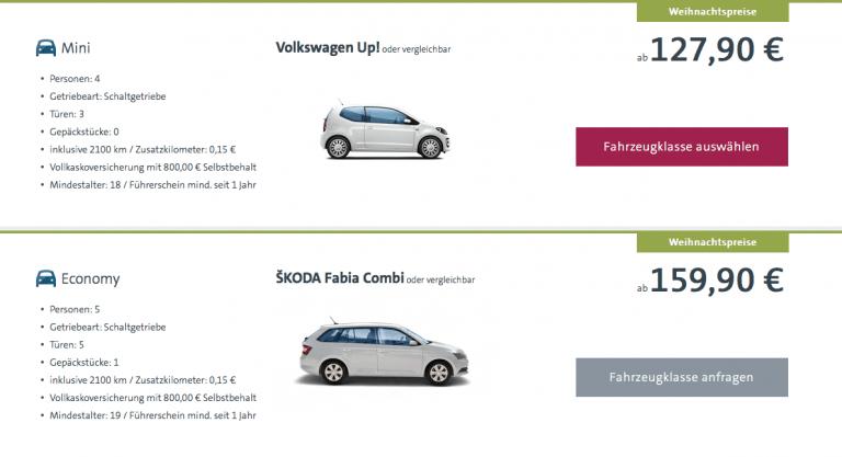VW Rent a Car Weihnachtspreise