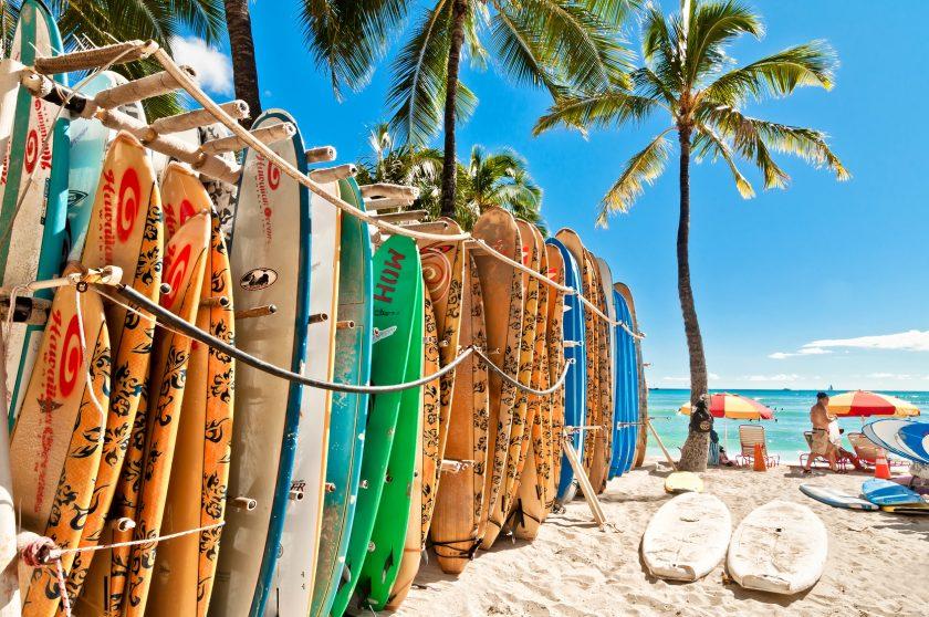 Surfboards Waikiki Beach, Honolulu, Hawaii