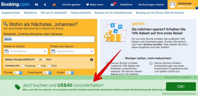 Booking.com 40$ ab 80$